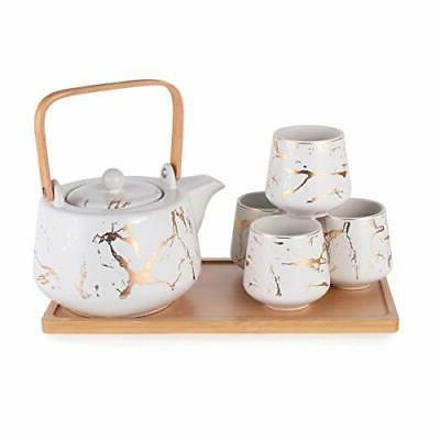 modern style marble design porcelain tea set
