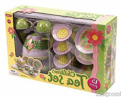 NEW 15Pc Schylling CHILDRENS TEA PLAY SET Plate Cup Teapot T