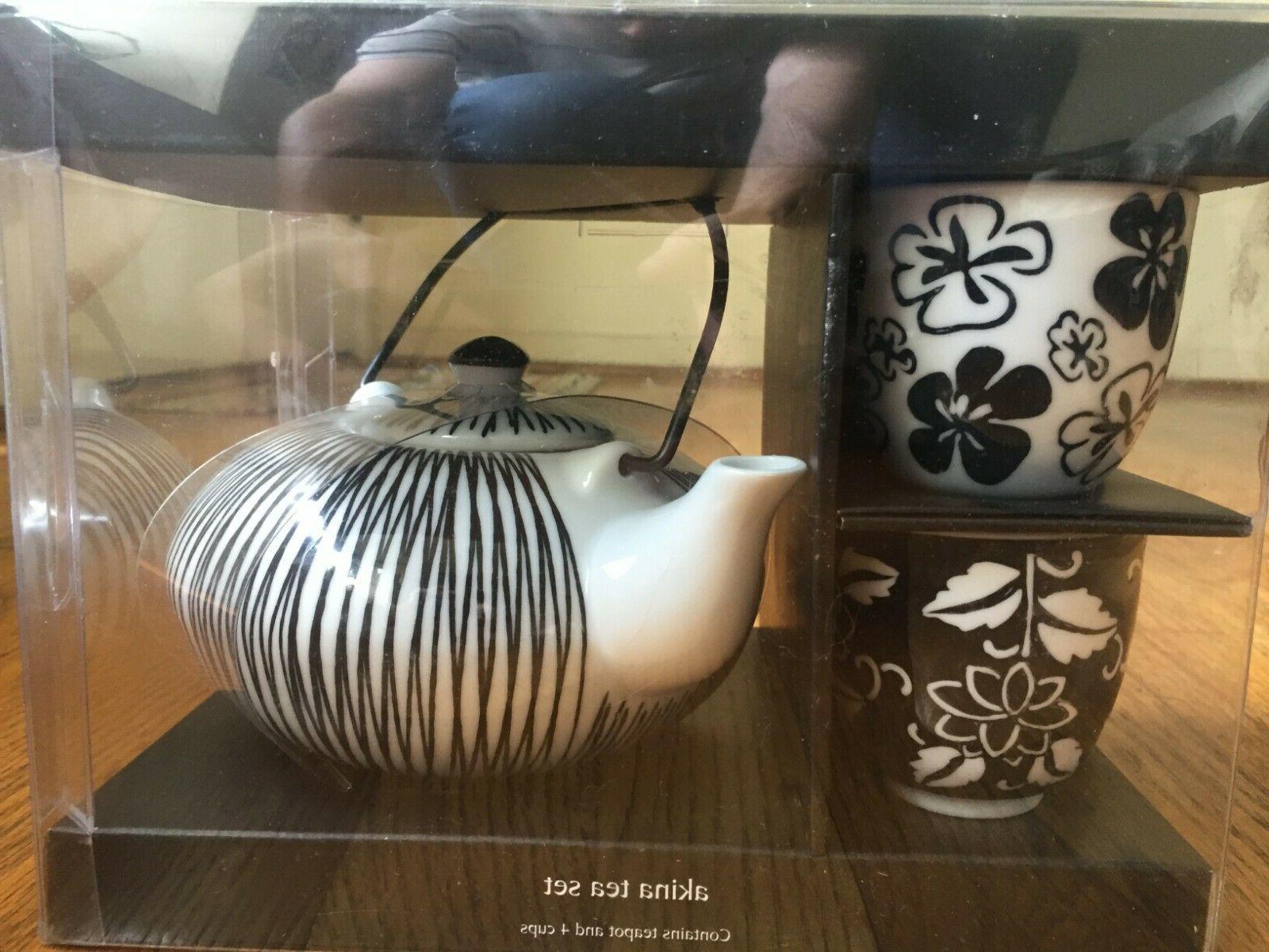 new black white porcelain akina tea set