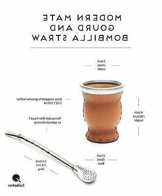 Balibetov Leather Glass Yerba Mate Gourd with Yerba