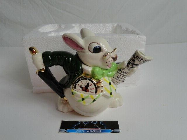 paul alice in wonderland white rabbit teapot