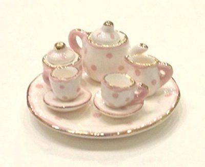 pink and white polka dot design porcelain
