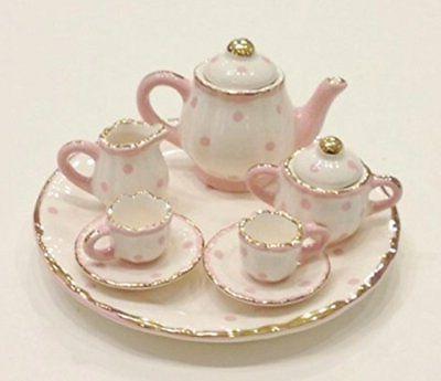 pink white polka dot porcelain