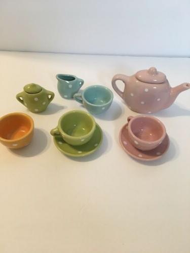 porcelain child play tea set pastel colors