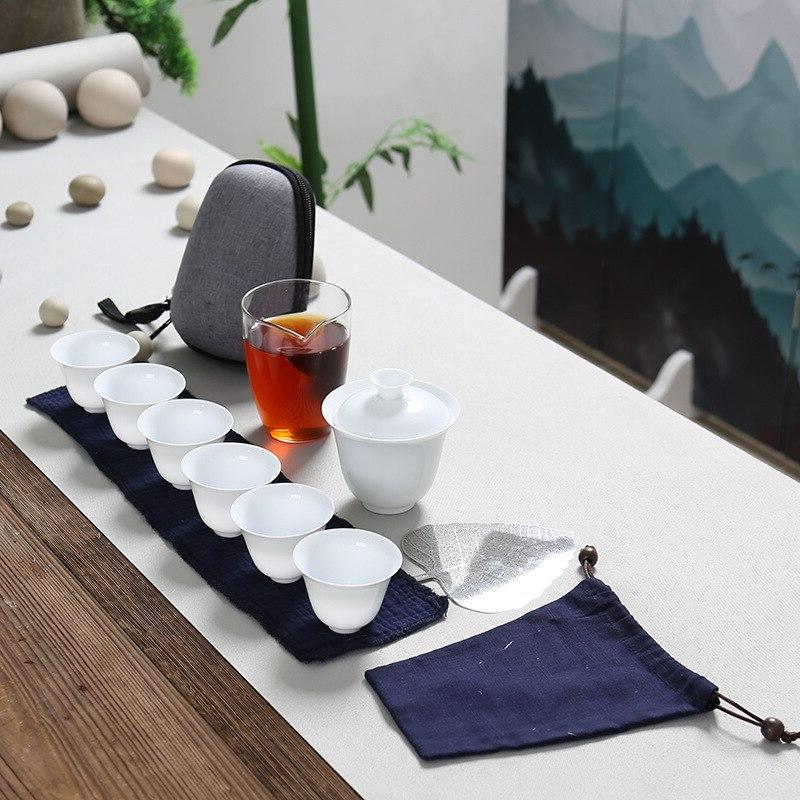 Porcelain Service Gaiwan Cups Mug of Ceremony Teapot,<font><b>Chinese</b></font> Fu <font><b>Set</b></font>, Travel Teacup bag