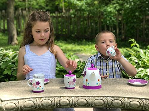 Premium Piece Kid's Tea Set - Enjoy of fun - design silicone lids to cushion protect - and Free - Great gift for child!