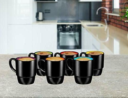 Bruntmor Ceramic Stacking Coffee Mug Set of Black