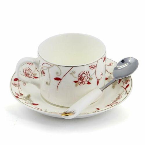 Porcelain Tea Saucer Coffee with Saucer and Spoon 18 6