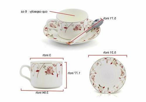 Porcelain Saucer Set Coffee Cup with 18 of 6