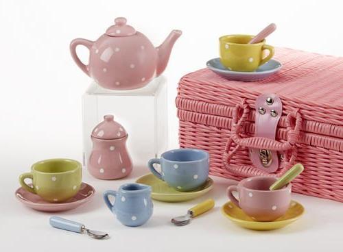 """Delton Products 4.25"""" Porcelain 17 Piece Tea Set and Basket,"""
