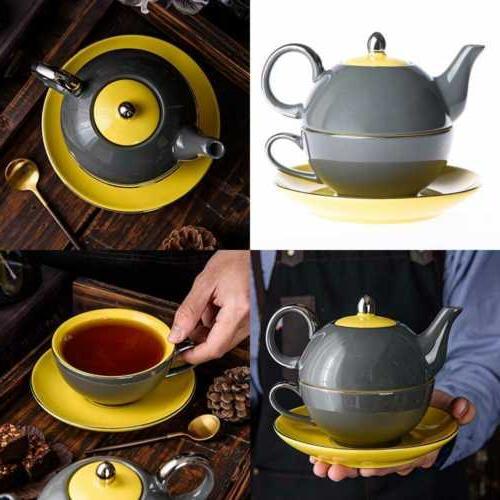 Porcelain Tea Set For One Teapot 14 Oz & Cup 8.6 W Saucer St