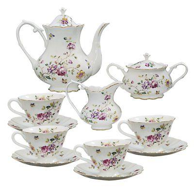porcelain tea set purple floral