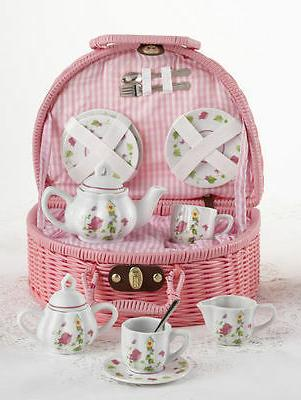 Delton Children's Porcelain Tea Set for 2 in Wicker Basket B