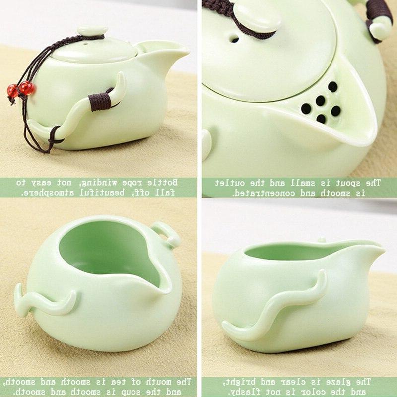 Portable Chinese Fu <font><b>Tea</b></font> <font><b>Set</b></font> Teapot Traveller Teaware With Bag <font><b>Tea</b></font> <font><b>Cups</b></font> Of <font><b>Tea</b></font> Ceremony