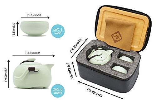OMyTea Set - Chinese / Kungfu Gongfu Set - Porcelain Teapot & Tray & Mat with Portable Bag