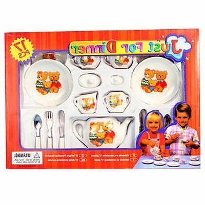 17-Piece Pretend Play Porcelain Dishes Flatware Dining Tea S