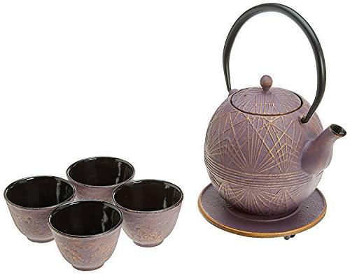 raspberry cast iron tea set