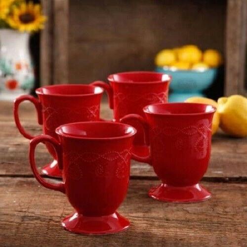 Red Set Tea Cappuccino Cups Piece Glaze Mug Stoneware