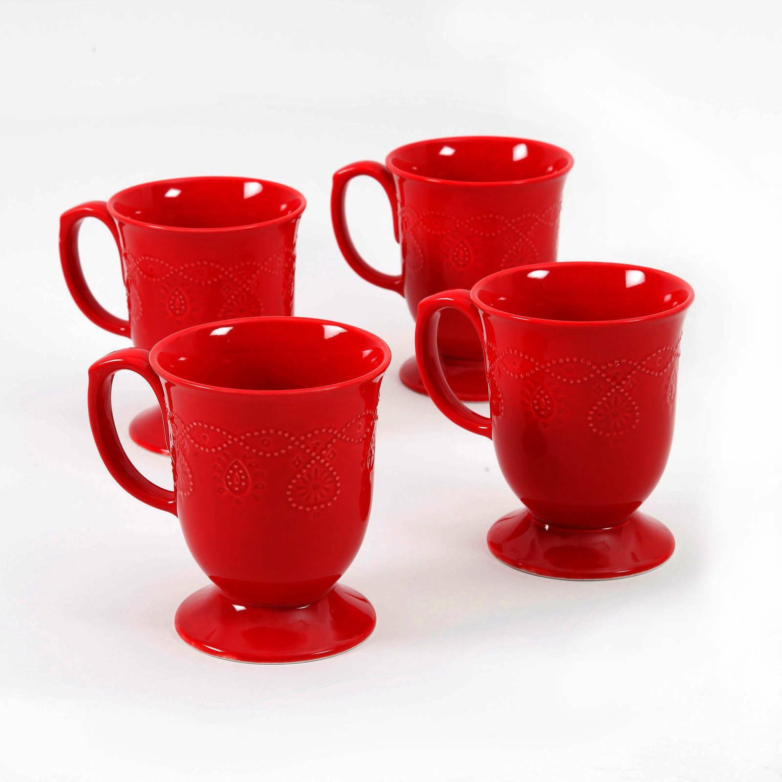 red coffee set tea cappuccino cups mugs