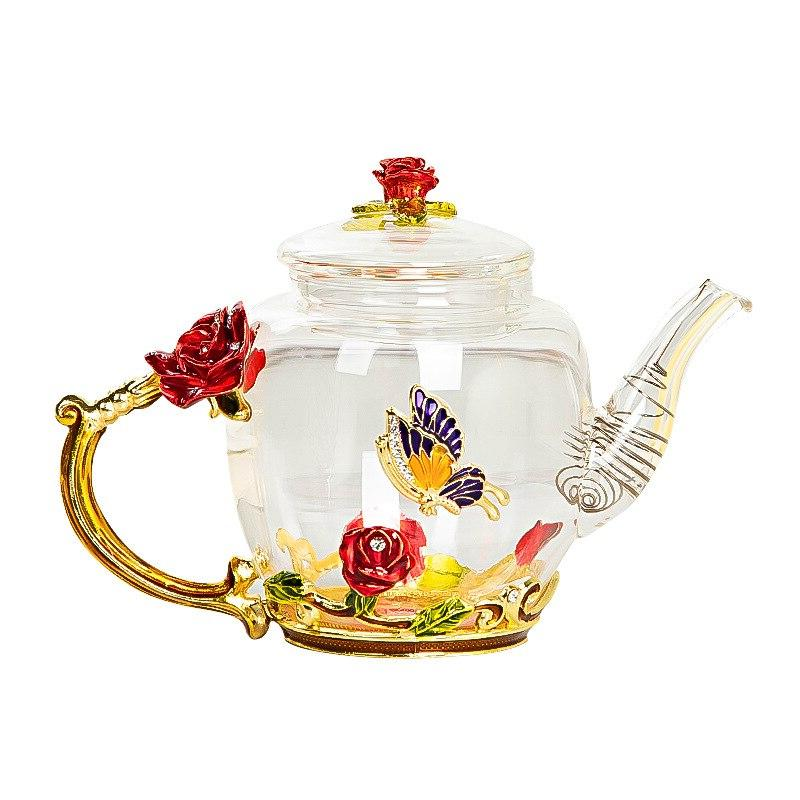 Red Glass <font><b>Tea</b></font> Teapot Cup Glass Cups for and Office