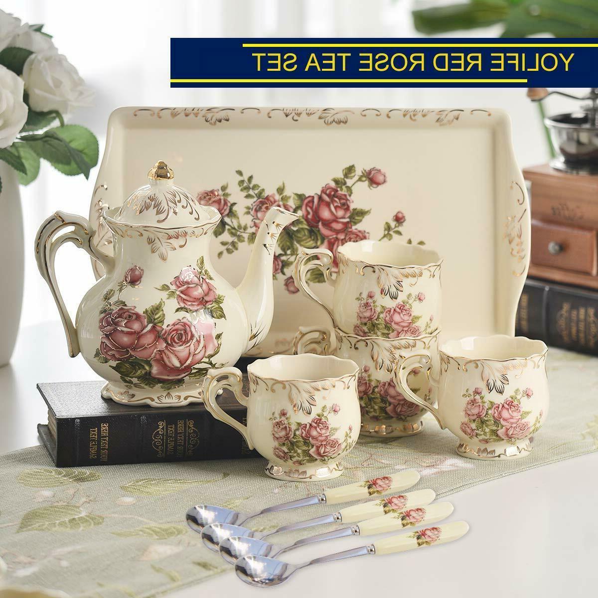 red rose ivory ceramic tea set vintage