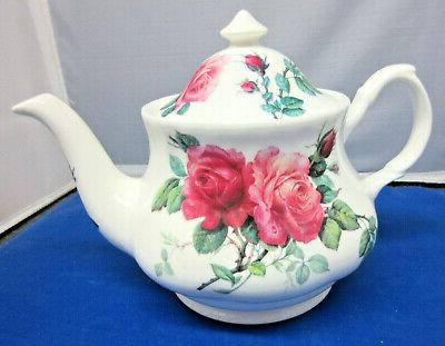 SALE**ENGLISH ROSE TEAPOT & CUP SAUCERS KIRKHAM BONE ENGLAND