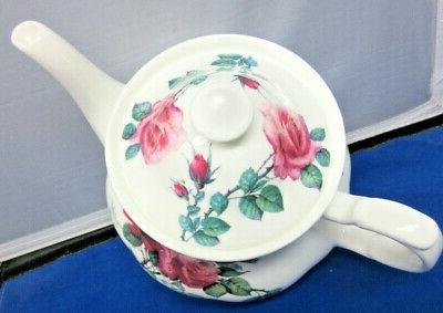 SALE**ENGLISH ROSE TEA TEAPOT & SAUCERS CHINA ENGLAND