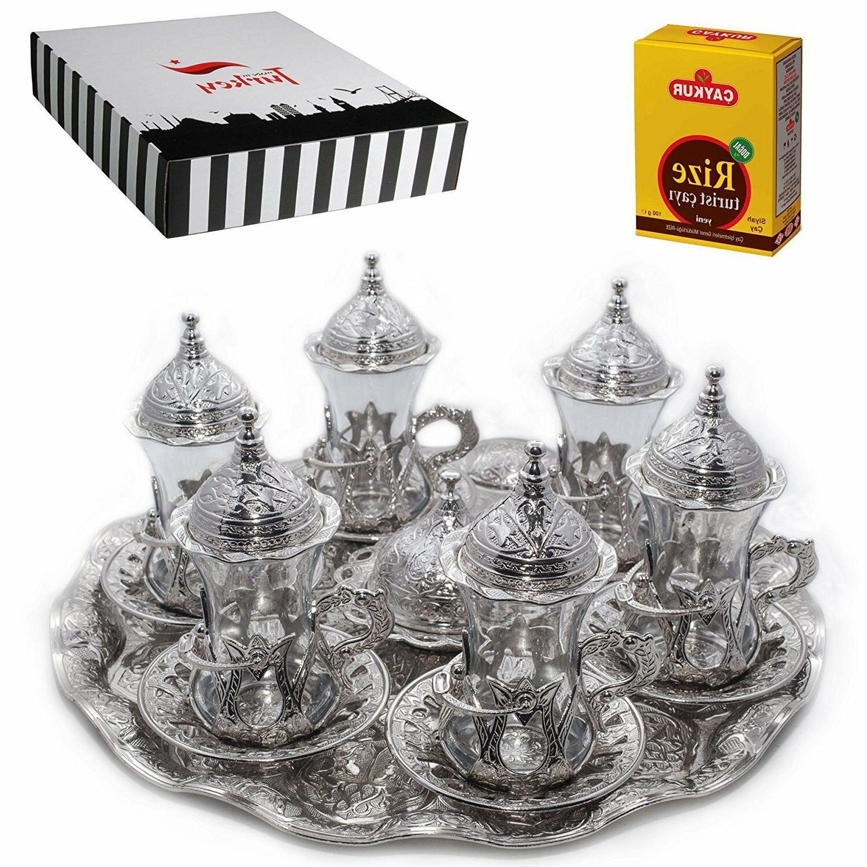 SALE   Turkish Tea Glasses Set Saucers Holders Set