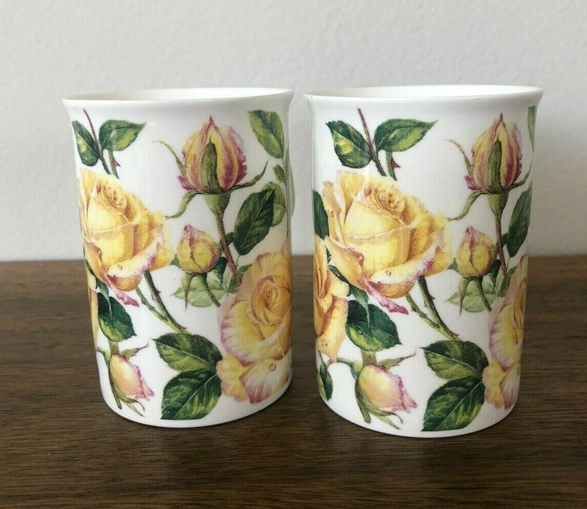 2 Yellow English Bone Mugs
