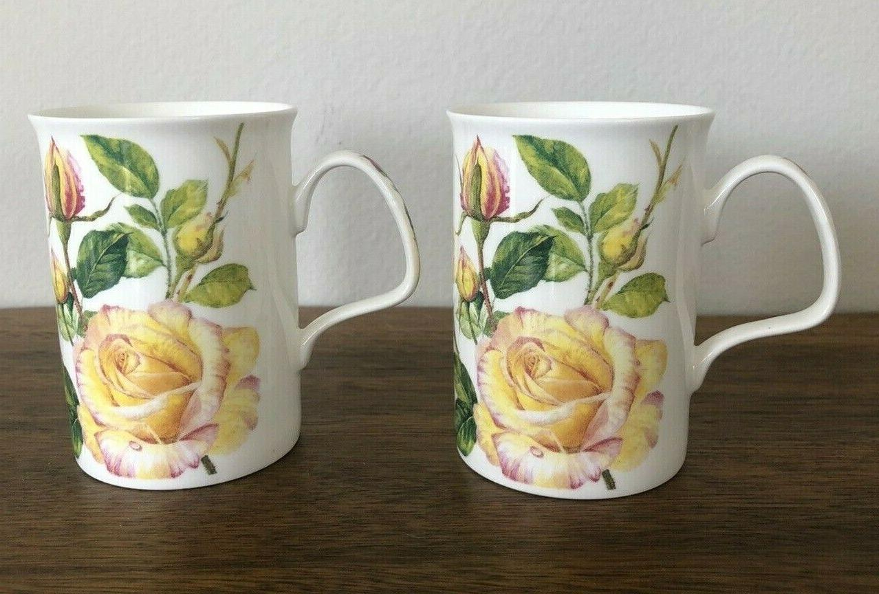 Roy Kirkham Set 2 Yellow Bone Tea Mugs
