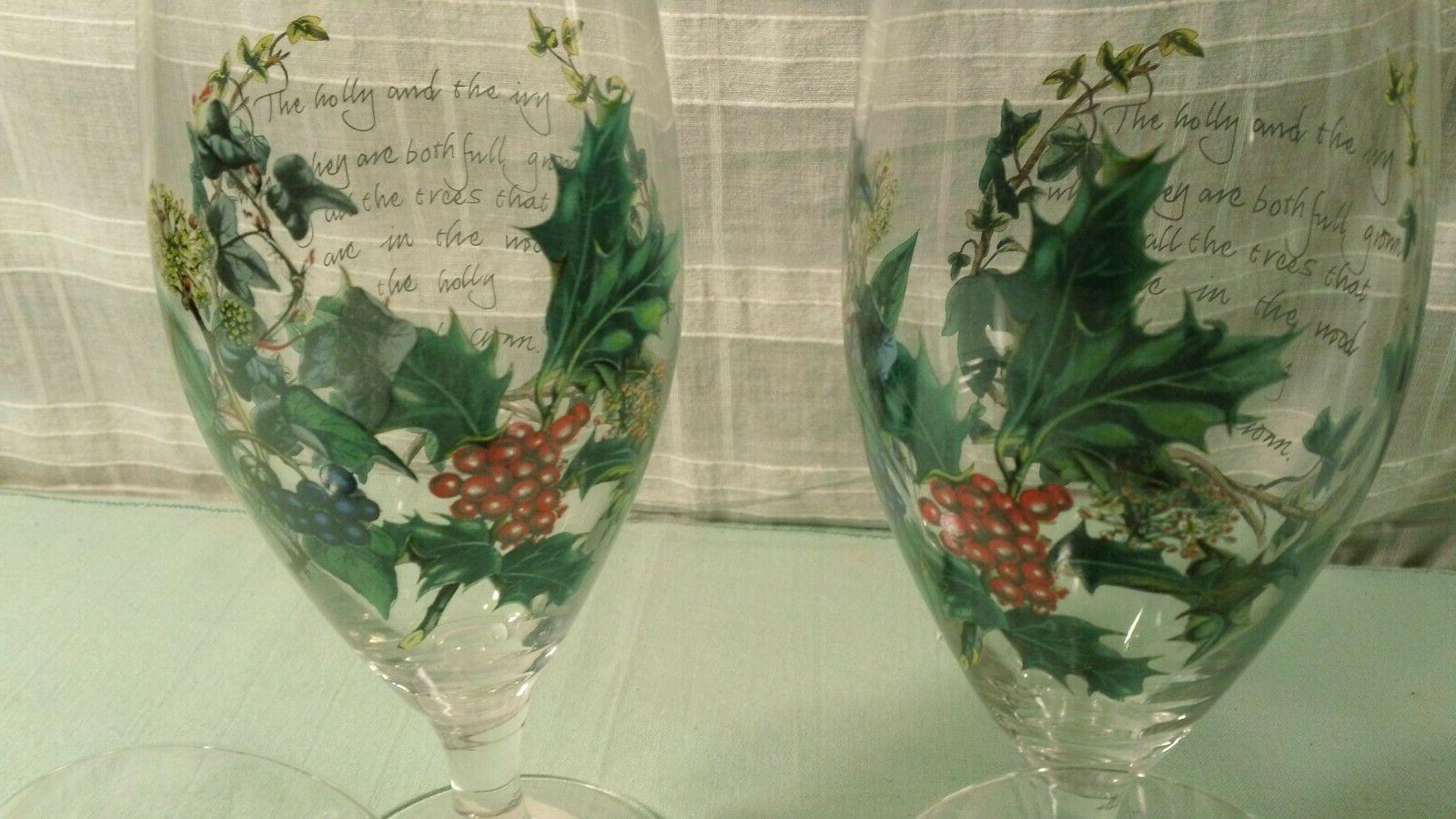 Portmeirion of 4 Ice Tea Water Holiday 16 oz Goblets Holly