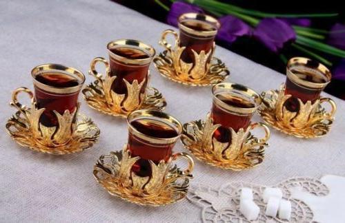 Tea Glasses Holders Serving Saucers Set