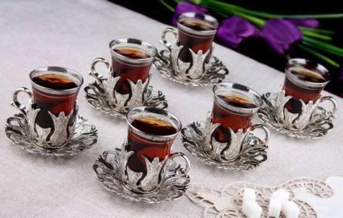Traditional Turkish Tea Glasses Holders Serving Cups Saucer