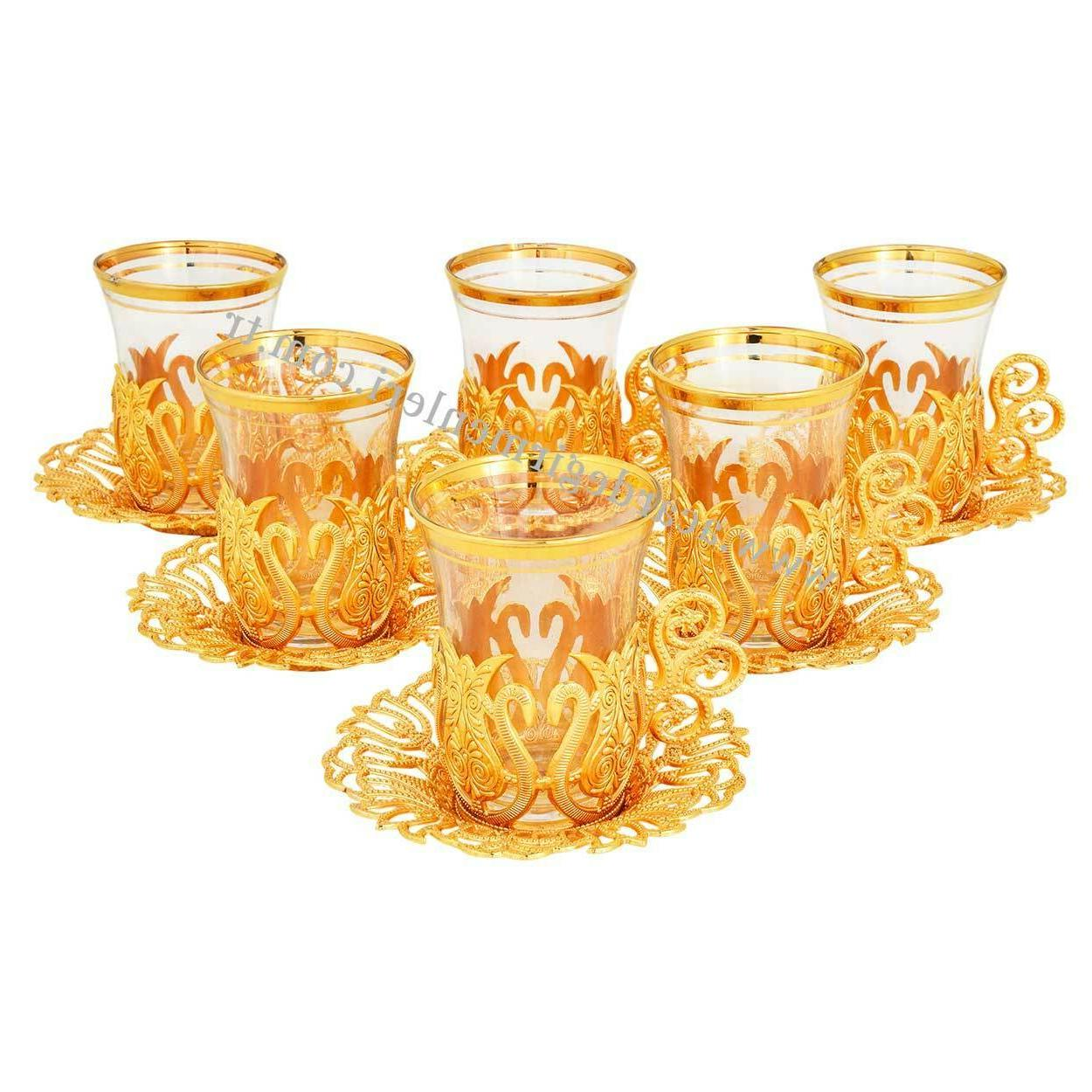 set of 6 turkish tea glasses holders
