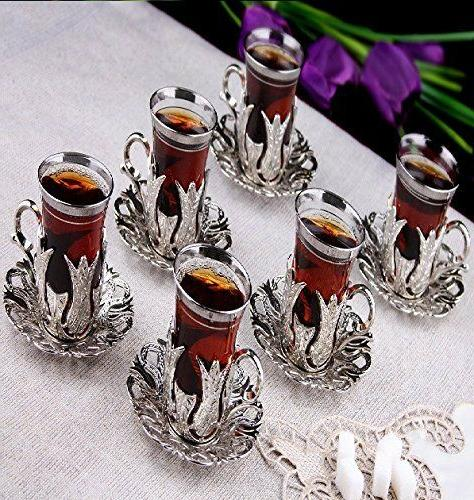 Tea Glasses Set 6 Tea Cups Saucers Set SILVER