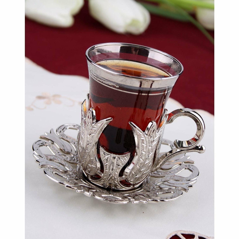 Turkish Tea Glasses Set Tea Cups Saucers SILVER