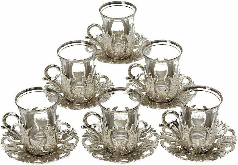 set of 6 turkish tea glasses set