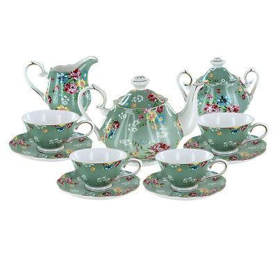 shabby rose green porcelain tea set