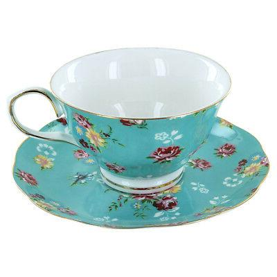 Shabby Rose Turquoise Porcelain - Teacup and Saucer Set