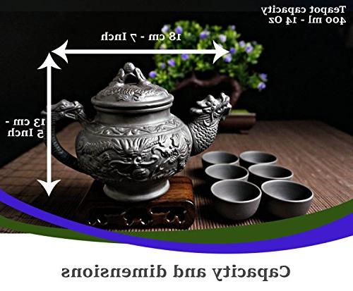 """Sipping Set 8 Pieces Quality Clay - Teapot Dragon"""" + Lid 6 Small"""