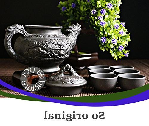 """Pieces made Premium Quality Clay - Teapot Dragon"""" + Lid 6"""