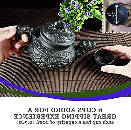"""Sipping Set 8 Pieces made with Premium Quality Chinese Clay Teapot """"Supreme Dragon"""" + 6"""