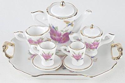 SM COLLECTIBLE HUMMINGBIRD PORCELAIN TEA SET TEAPOT SUGAR BO