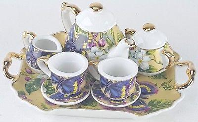 SM COLLECTIBLE ROSE BUTTERFLY PORCELAIN TEA SET POT SUGAR BO