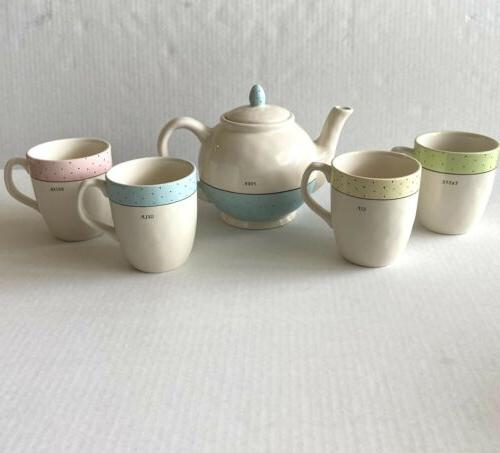 spring pastel polka dot teapot tea set