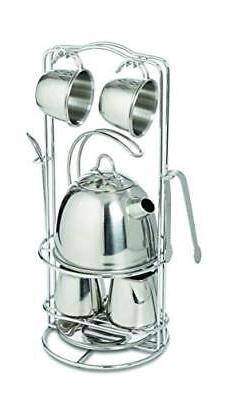 Melissa & Doug Stainless Steel Pretend Play Tea Set and Stor