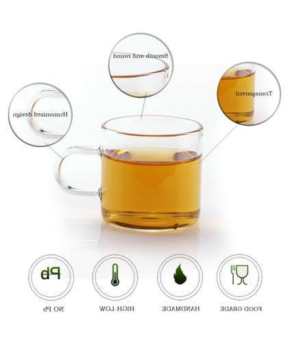 Tea Cup Set 4 Glass Handle Mugs Heat Resistant