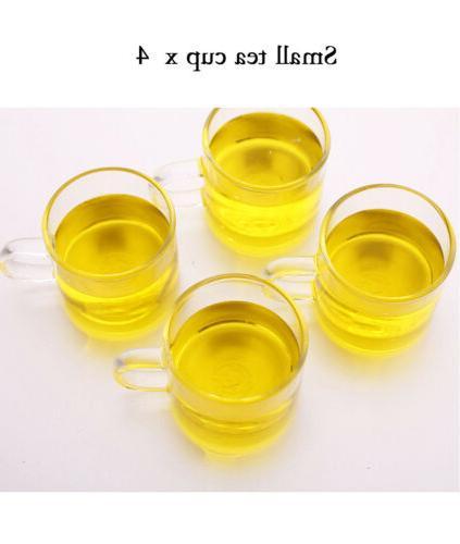 Tea Cup of 4 Glass Handle Mugs Heat Resistant