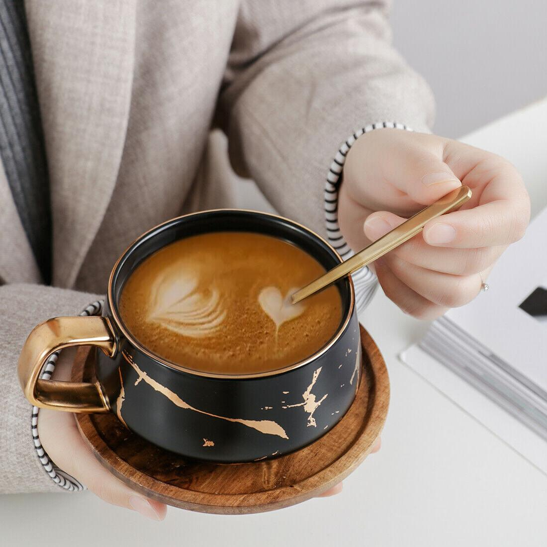 Tilany with Wooden Set - Ceramic - Coffee oz