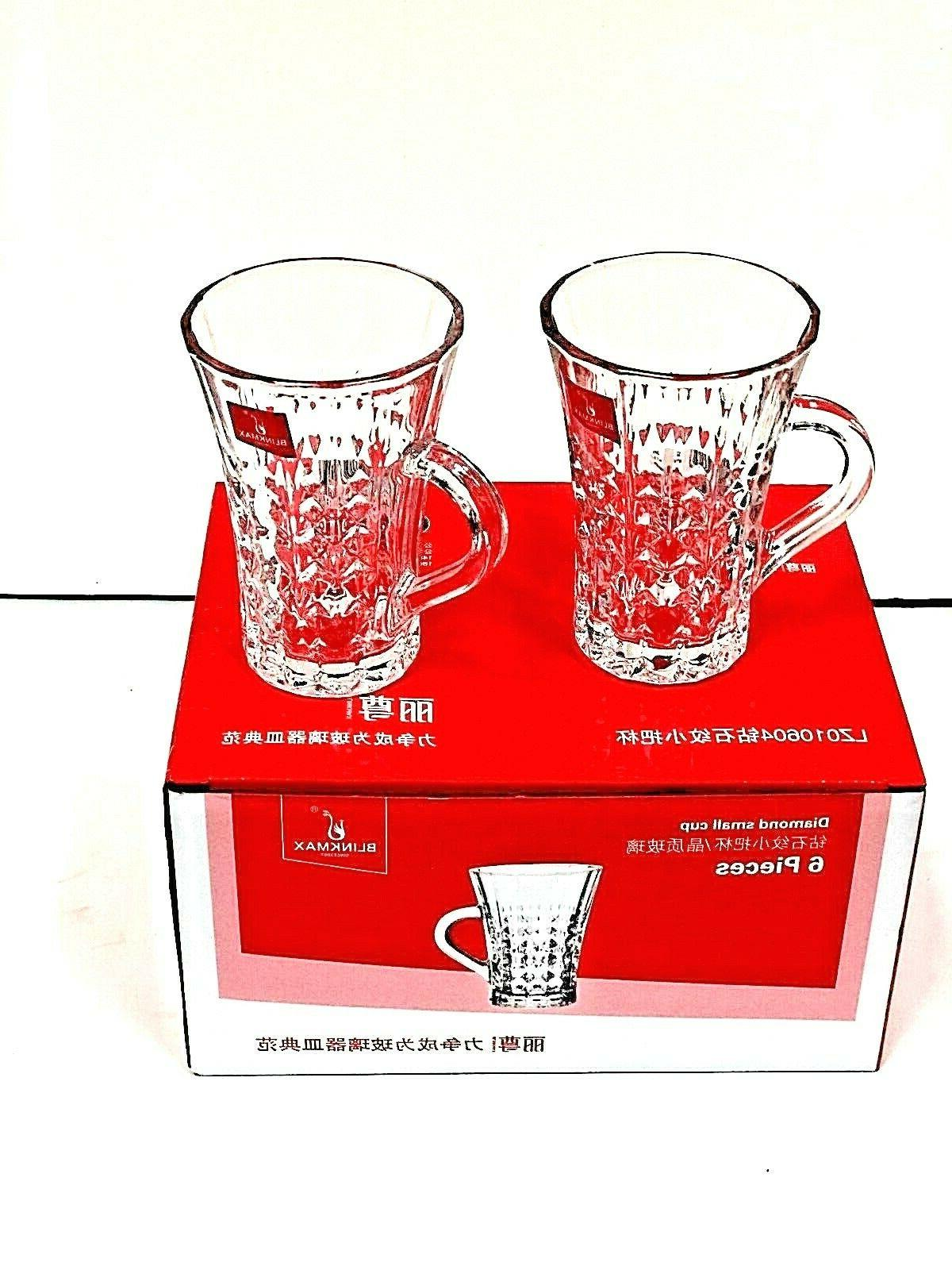 tea cups set of 6 clear tea